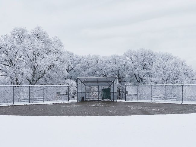 Baseball Field Cold Temperature Snow Winter Sky Built Structure Architecture Nature