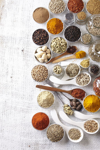 Directly above shot of various spices on burlap