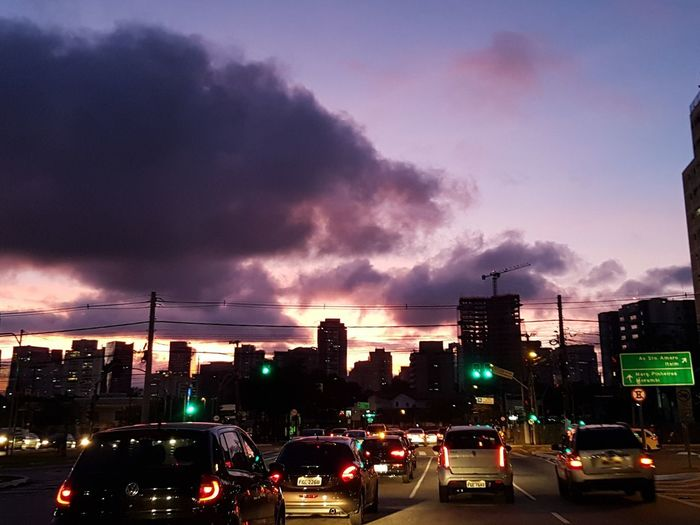 Car Illuminated Dramatic Sky Traffic Cloud - Sky Night City Sky Sunset Architecture Naturelover Awe Dusk Travel Destinations Colors City Life Color Explosion Saopaulo Nofilter Cityscape Red Nature Urban Skyline Colourful People