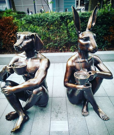Dogman & Rabbitgirl with Coffee by Gillie & Marc Gillie & Marc Spitalfields Dogman & Rabbitgirl Bishops Square EyeEm Selects Close-up Sculpture Statue Art