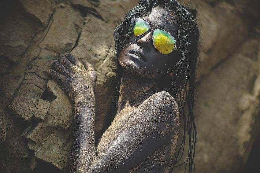 Caribbean Life Island Life Sunglasses Reflection Beachphotography Day Erotic_photo Nudeartphotography Outdoors Sand Woman Portrait The Creative - 2018 EyeEm Awards