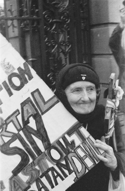 Catholic counter-protester, X-case protest march, Dublin, Ireland, 1992 Catholic 1990s Abortion Cross Crucifix Day Dublin Ireland Outdoors Portrait Pro-Choice Protest Smiling X-case EyeEmNewHere