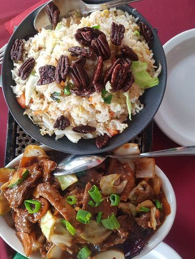 chinese food in Israel Chinese Rice Pecans Meet Israel Table Appetizer Homemade Plate Dessert Table Directly Above High Angle View Still Life Close-up Sweet Food Chinese Dumpling Chinese Takeout Chinese Food Cashew Food Styling Soy Sauce Stir-fried Fried Rice Chopsticks