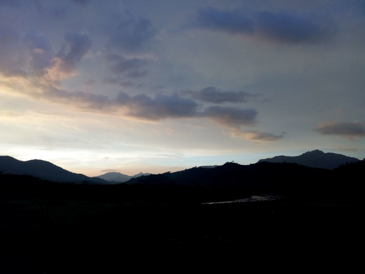 mountain, silhouette, beauty in nature, sunset, nature, tranquil scene, scenics, tranquility, no people, mountain range, landscape, sky, outdoors, day, range