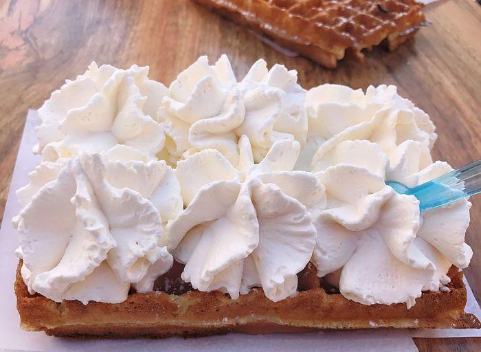 Cream Chantilly♥ Gauffre Sweet Food Food Food And Drink Dessert Cake Indulgence Freshness Baked Temptation Sweet Pie
