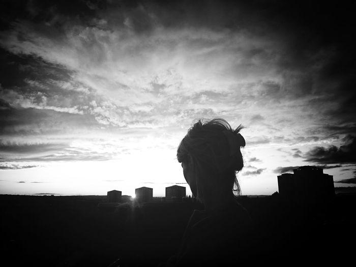 Black & White Rooftop Enjoying The Sun