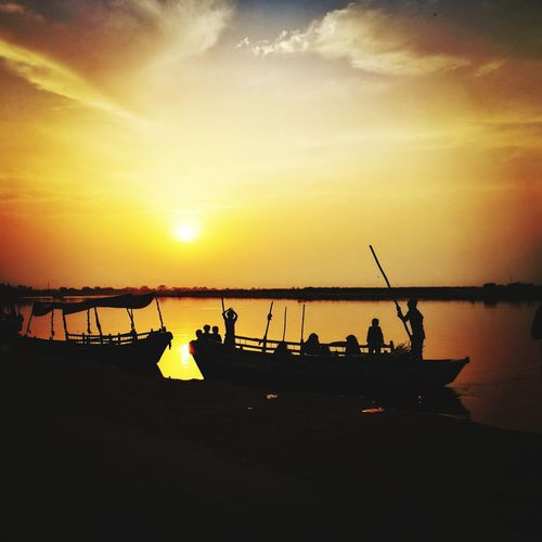 The holy Yamuna river Yamuna Vrindavana Water Nautical Vessel Sunset Sea Silhouette Beach Reflection Sky Horizon Over Water Shore Calm