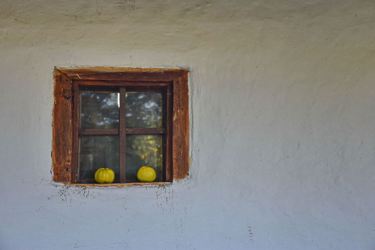 Window No People Architecture Wall - Building Feature Built Structure Building Day Wood - Material Fruit House Healthy Eating Old Food And Drink Food Yellow Glass - Material Wall Window Frame Quince Minimalism Minimal White