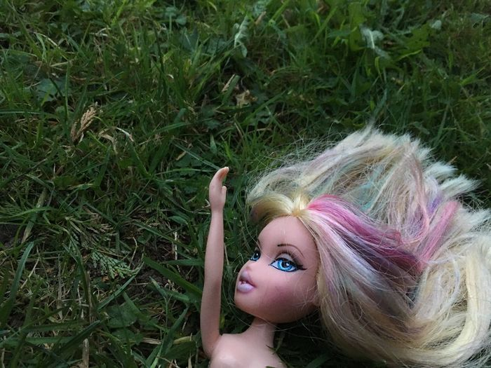 Reaching for reality Doll EyeEm Selects Portrait Women One Person Hair Grass Looking At Camera Blond Hair High Angle View Hairstyle Lying Down Green Color Body Part 17.62°