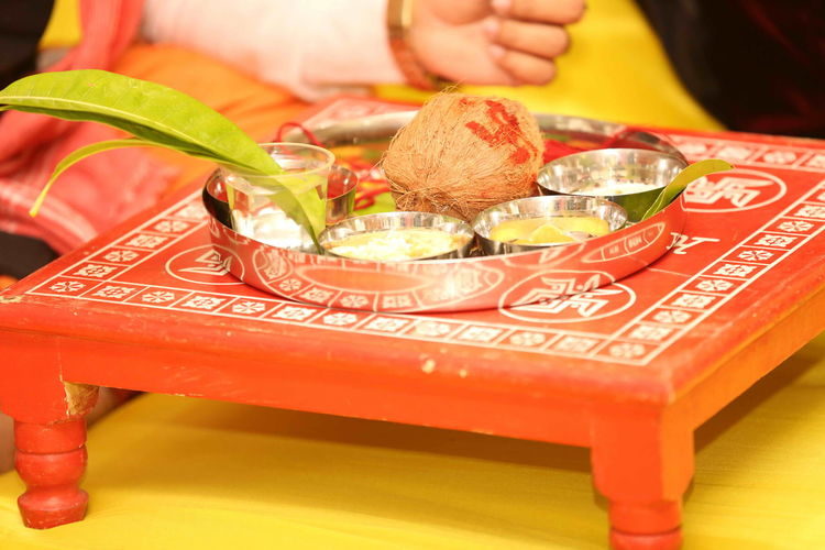 Religions offerings on traditional table during wedding ceremony