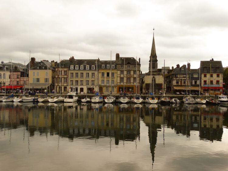 Honfleur Building Exterior Water Built Structure Architecture Reflection Building Sky Nautical Vessel Waterfront Cloud - Sky Transportation Mode Of Transportation City Residential District River Nature Moored Day Travel Destinations No People Outdoors Sailboat Row House Honfleur Normandie