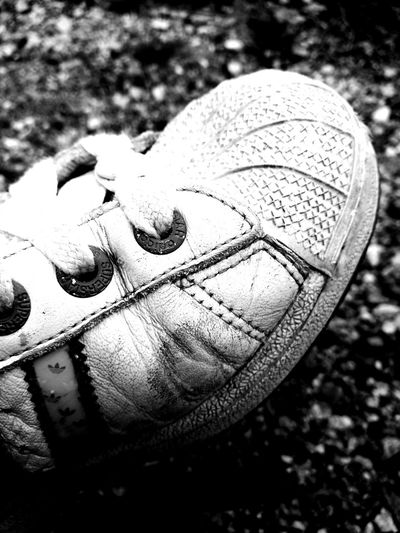 Well Used My Shoe Blackandwhite Photography Adidasoriginals Adidas Shoe Fresh On Eyeem  HuaweiP9 In The Gravel