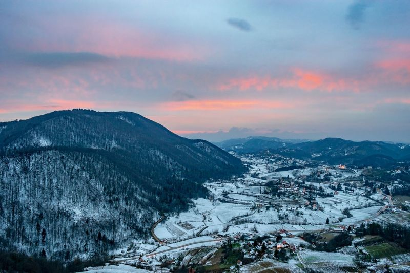 Mountain Snow Cold Temperature Sunset Winter Forest Sky