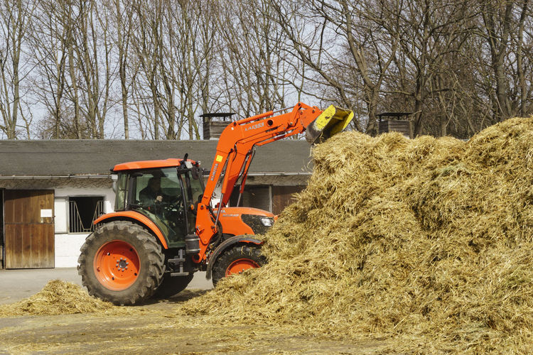Man Working With Bulldozer By Manure Pile At Farm