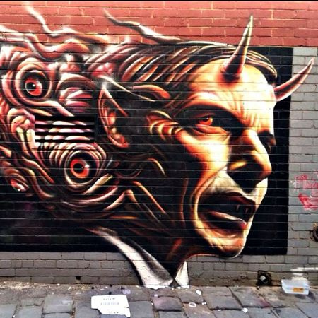Melbourne Graffiti prime sinister ...wall by Hesco