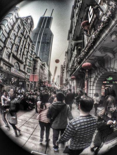 Taking Photos Street Shanghai Hello World