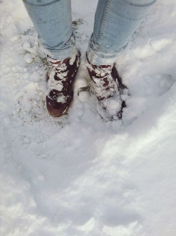 Snowcovered shoes. Shoes Snowcovered Snow Winter Wet White Ground