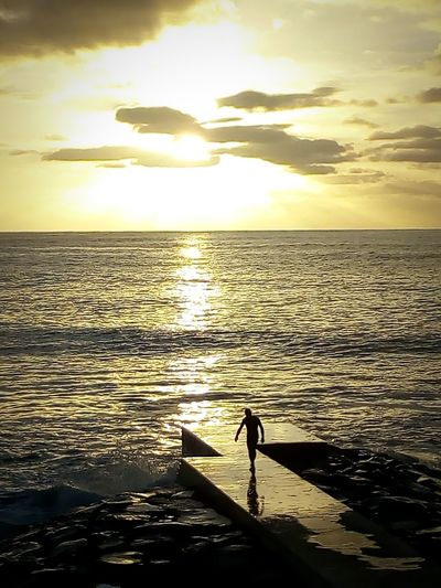 Até onde Madeiraisland Ilha Da Madeira Paul Do Mar Sunset Sea Silhouette One Person Sunlight Water Beach Reflection Horizon Over Water One Man Only Outdoors People Beauty In Nature Nature Scenics
