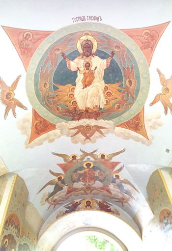 A ceiling mural at the entrance to Trinity Lavra of St Sergius in Sergiyev Posad Rus2015tc Traveling ArtWork Church