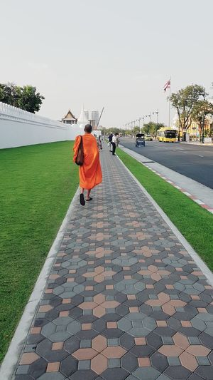 orange man Bangkok Palace Rear View Full Length Only Men People Outdoors Stories From The City