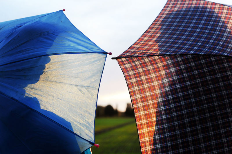 Low angle view of tent against sky