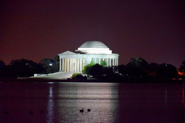 Jefferson Memorial at night Architecture Building Exterior Built Structure Dome Famous Place History Illuminated Lake Memorial Monument Night Reflection Water