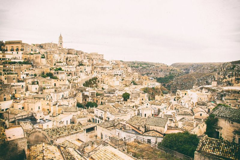 Aerial View Of Sassi Di Matera Against Sky