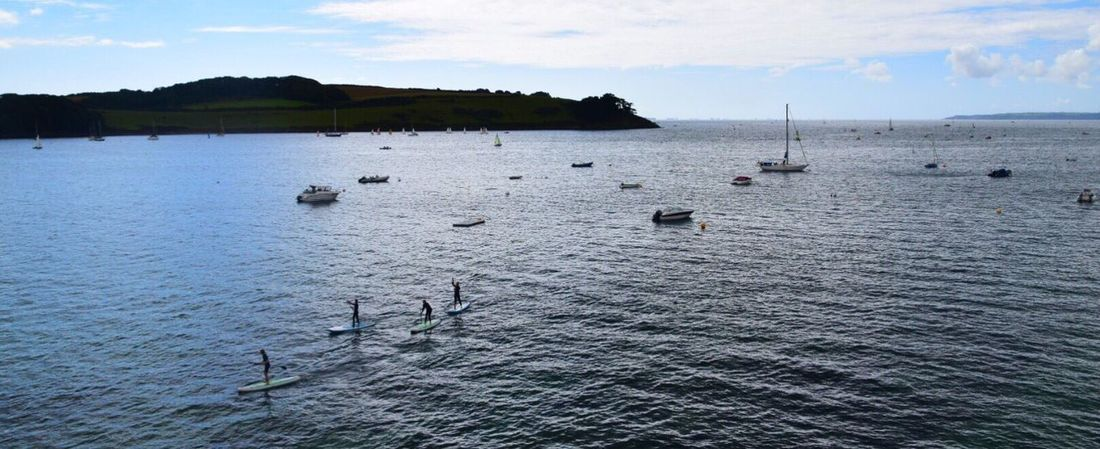 Paddleboarding Water Sea Nature Sky Beauty In Nature Scenics Tranquility Outdoors Waterfront Nautical Vessel Cloud - Sky Day Transportation No People Horizon Over Water St Mawes Harbour Cornwall Uk Kernow