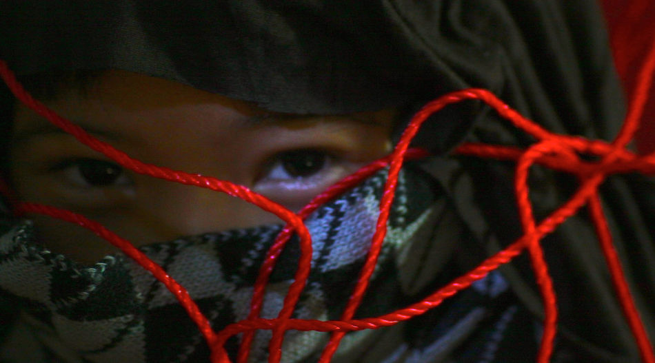 Photo Illustration, played by my son; 'Children were bound, not free, children threatened'. Burqa Childhood Children's Portraits Close-up Day Girls Headshot Iconic Buildings Ilustration Imagination Indoors  Not Free One Boy Only One Person People Potrait Real People Red Red Rope Snap A Stranger