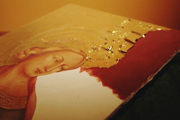 Painting Close-up Michaelangelo ArtWork Museum Gold Golden Painted