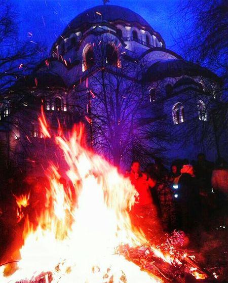 Cristmas Ortodox Ortodox Church Fire Hram_svetog_save Belgrade EyeEm Gallery Badnja Veče Badnjak Sretanbozic Eye4photography  Special Moment Night Lights Holiday Lights