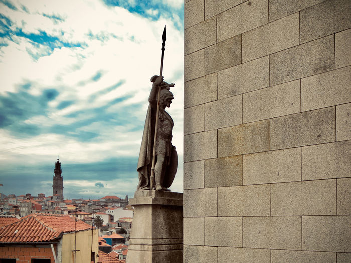 City Cityscape Oporto, Portugal Portugal Architecture Art And Craft Belief Building Building Exterior Built Structure City Cloud - Sky Color Human Representation Nature No People Outdoors Place Of Worship Religion Representation Sculpture Sky Spire  Spirituality Statue Travel Destinations
