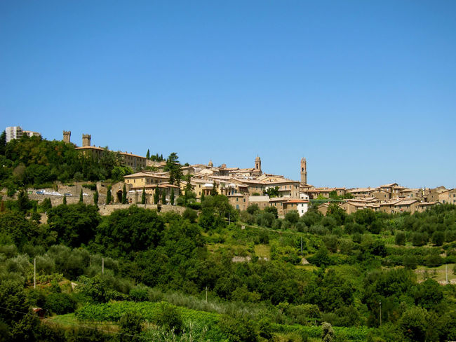 Montalcino. Toscana Ancient Ancient Civilization Architecture Blue Building Exterior Built Structure Clear Sky Copy Space Day History Landscape Nature No People Old Ruin Outdoors Sky Travel Destinations Tree