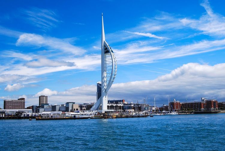 Spinnaker tower Sky Architecture Built Structure Building Exterior Water City Cloud - Sky Waterfront Nature Nautical Vessel No People Day Building Tall - High Blue River Travel Transportation Office Building Exterior Modern