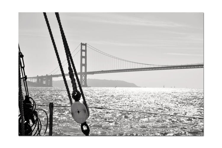 Sailing Aboard The Alma 8 San Francisco CA🇺🇸 The Alma 80 Ft. Scow Schooner Built 1891 Sailing San Francisco Bay The Alma's Rigging Golden Gate Bridge Northern Tower Bridge Span Northern Anchorage Arch Fort Point Eastbay Hills Monochrome_Photography Monochrome Silhouettes Black & White Black & White Photography Black And White Black And White Collection  Bnw_friday_eyeemchallenge Suspension Bridge