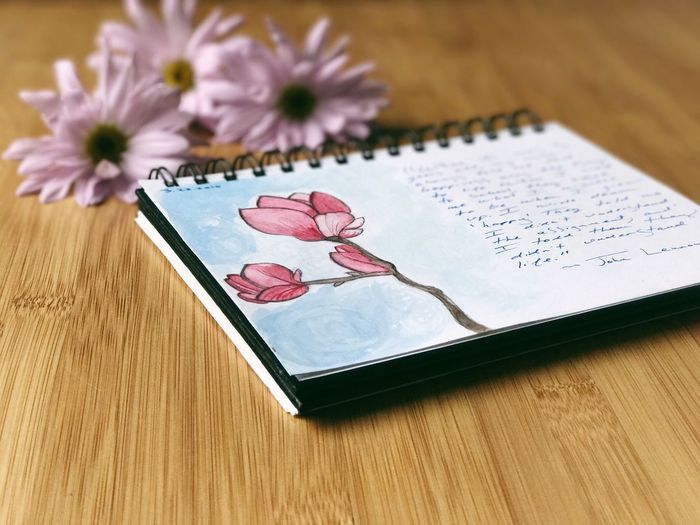 Flower No People Indoors  Close-up Art Journal Art Journal Page High Angle View Painting Table Day Journal Your Life Writing Lifestyle Watercolor Painting