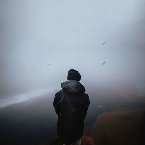 Rear view of man standing on mountain against sky during foggy weather