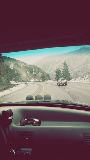 Myride Liftedtrucks Car Point Of View Driving Outdoors Motion Winter Landscape MtHoodOregon Beautiful View Mypoint Of View Dashboard