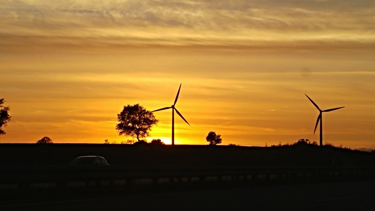 sunset, wind turbine, wind power, alternative energy, windmill, renewable energy, cloud - sky, orange color, sky, fuel and power generation, silhouette, industrial windmill, nature, no people, scenics, technology, beauty in nature, outdoors, tree, day