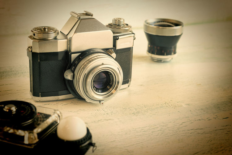 Retro camera gear Camera - Photographic Equipment Close-up Film Camera Film Photography Horizontal Composition Light Meter Metal No People Old Fashioned Photography Relaxing Retro Style Sepia Still Life Vintage