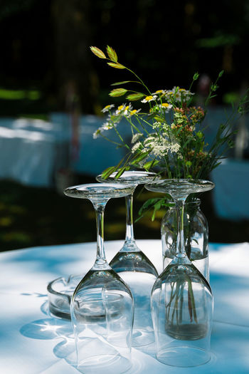 Close-up of empty glass vase on table