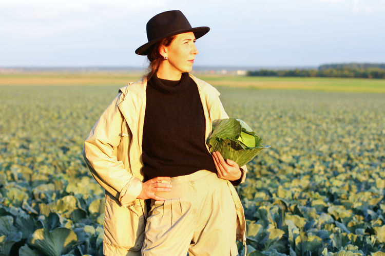 Woman picking cabbage vegetable at field. female farmer working at organic farm. harvesting