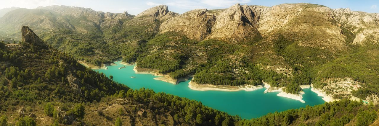 Blue Lake Guadalest Guadalest Spain Nature Nature Photography Panorama SPAIN Lake Landscape Landscape_photography Mountain Mountain Range Nature Collection Panoramic Photography Scenics Countryside Non-urban Scene Lakeside Idyllic Standing Water Pine Woodland Lakeshore Rock Formation Physical Geography Pine Tree Geology EyeEmNewHere