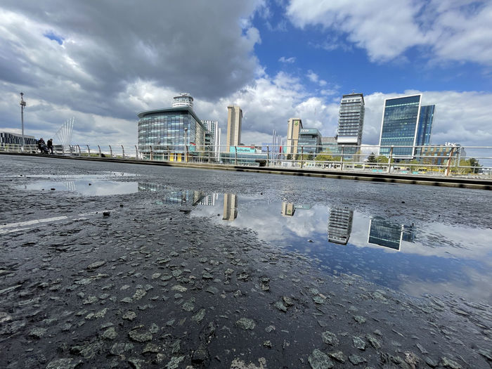 Reflection of buildings on puddle in city against sky