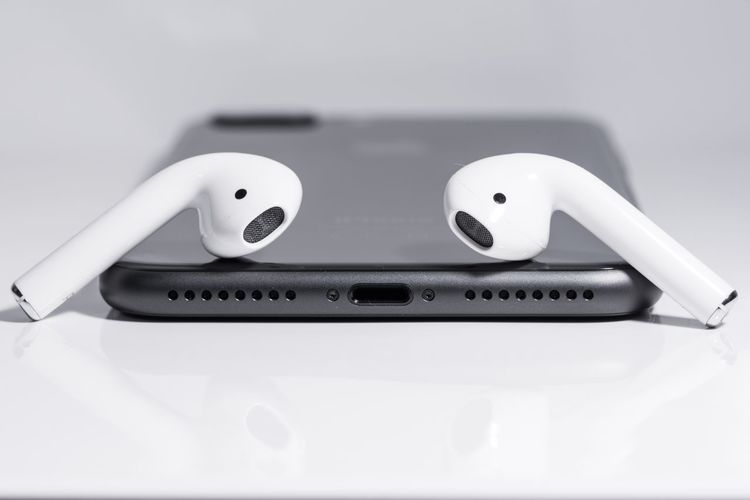 Earphones Earpods IPhone Macro Macro_collection Gadgets Technology I Can't Live Without Iphone8plus Airpods Apple Arts Culture And Entertainment Music Indoors  Technology White Background No People Close-up