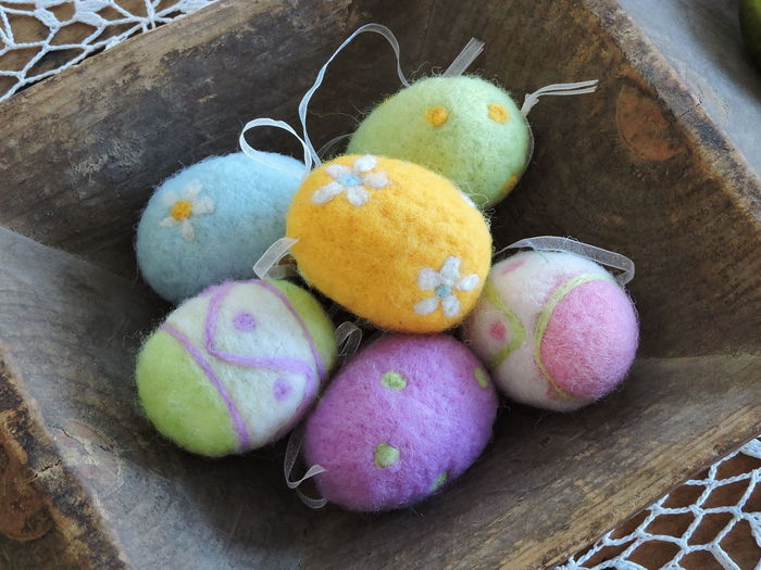 High Angle View Of Easter Eggs In Basket