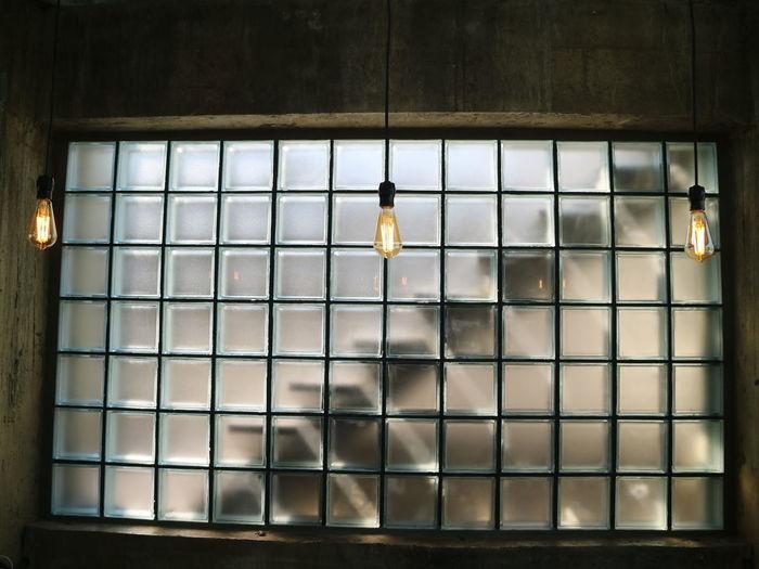 Close-up of illuminated glass window
