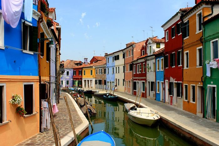 EyeEm Selects Architecture Building Exterior Canal Travel Destinations Outdoors No People Day Gondola - Traditional Boat Water Nautical Vessel Multi Colored Sky Beautiful ♥ Italianlandscape Italy🇮🇹 Streetphotography Venice, Italy Summer Tourism