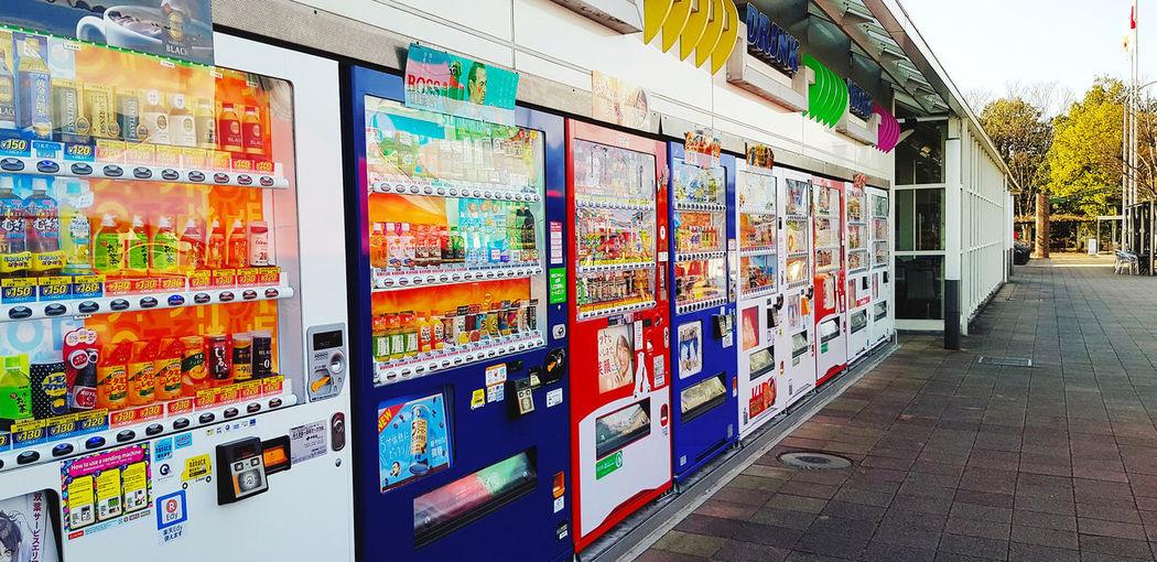 Multi colored market stall in store