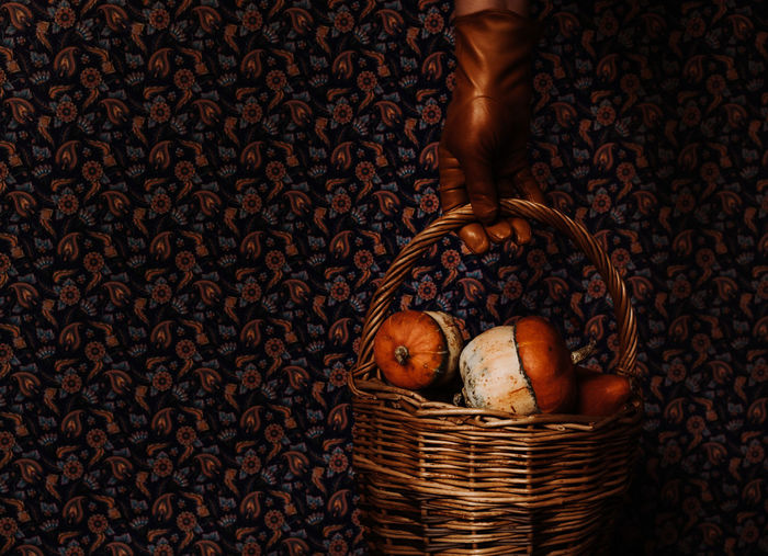 Pumpkins Art Deco Style Basket Close-up Dark Photography Food Food And Drink Freshness Healthy Eating Indoors  Interior Leather Glove Mini Vegetables Moody Real People Retro Styled Still Life Traditional Pattern Vintage Wallpaper Design Whicker Food Stories
